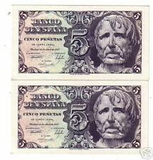 PAreja correlativa del  Billete 5 Pesetas 1947 Seneca