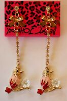 Betsey Johnson Crystal Rhinestone Enamel Post Earrings Birds