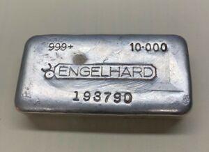 Vintage Engelhard 10 oz Poured .999+ Silver Bar Canada Bull Logo Pour Lines Cast