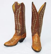 ABILENE 2 Tone Brown Leather Feather Stitched Cowboy Boots Size 6 M Made In USA