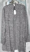 NEW Plus Size 3X Black Gray Open Cardigan Sweater Topper