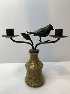 Vintage Metal Wine Bottle Stopper Candelabra Candle Holder Bird Design