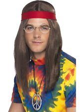 1960's Hippie Guy Brown Hair Wig + Glasses, Headband Medallion Men's Costume Set