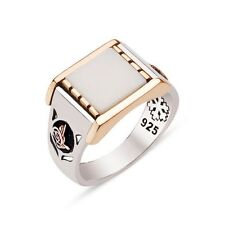 Minimalist Design Tughra Mother of Pearl Stone 925k Sterling Silver Mens Ring