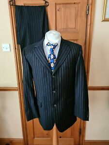 Roy Robson  pure wool navy pinstriped suit Jacket 42 R Trousers W 34 L 30.5 in