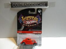 Hot Wheels Larry's Garage Red 3-Window '34 Ford w/Real Riders