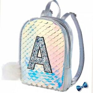 Justice Girls Initial K Gleaming Mermaid Scale MINI Backpack New With Tags