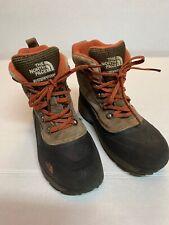 Boys North Face Garçon Winter Hiking Boots Brown Leather Heatseeker Size 2