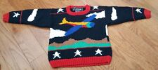 Rare Vintage Airplane Hand Knitted Sweater Nwot Size 2-3T