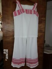 vintage 60's summer pantsuit women's size 16 white red double knit polyester