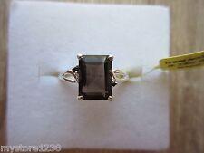 Brazilian Smoky Quartz Thai Black Spinel Ring Platinum Over Sterling Sz 8