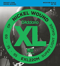 D'Addario EXL220M Nickel Wound Bass Guitar Strings, Super Light, 40-95, Medium