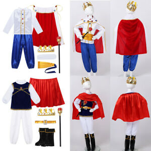 Boys Prince Cosplay Outfits Long Sleeves Tops Pants Cape Halloween Party Costume