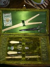 Antique Sewing Kit Set Green Velvet Case Box Bone Needlework Tools Etui 1900