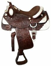 "Fully Tooled Western Pleasure Silver Show Saddle 16"" DARK Oil Leather SemiQHB"