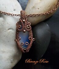 Handmade OOAK copper wire wrapped opalite necklace