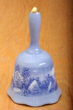 Porcelain Blue Bell With Scene of a Farm Vintage