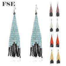 Multi Seed Beads Woven Long Dangle Earrings Bohemian Beads Drop Earrings 2440