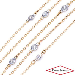 Estate 0.72ct Diamond 18K Gold 16.75'' Two Tone Station Chain Necklace NR