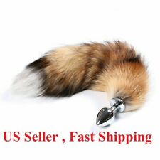 Small anal-butt stainless steel  plug artificial fox tail role playing cosplay