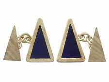 Yellow Gold Clufflinks - 1971 Vintage Lapis Lazuli and 18k