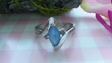 Beautiful Blue Sapphire CZ Solid Ring Real 925 Sterling Silver *Size 7 1/4 *F083