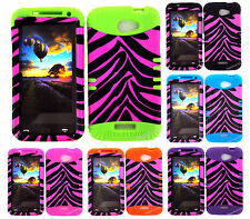 KoolKase Hybrid Silicone Cover Case for HTC One X S720e - Zebra Hot Pink