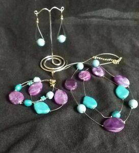 Boxed  imitation Amethyst & turquoise Beaded Necklace, Earrings And Bracelet set
