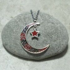 Black & Red Crescent Moon Star Pendant Necklace Antique Silver