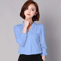 OL Style Women Elegant Slim Long Sleeve Casual Chiffon Blouse Career Shirt Tops