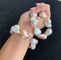 Huge!!! SilverNatural Baroque Freshwater Pearl Necklace and Bracelet TOP Quality