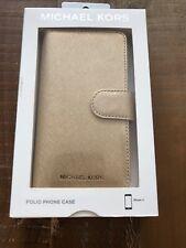 NWT $75 Michael Kors Saffiano Pale GoldLeather Folio Case 3 Card Slots iPhone X