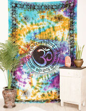 OM Gayatri Mantra YOGA Indian CHAKRA Tie Dye HIPPIE Wall Hang TAPESTRY Bedspread