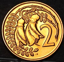New Zealand 2 Cents, 1970 Proof-Like~Only 20,010 Minted~Kowhai Leaves~Free Ship