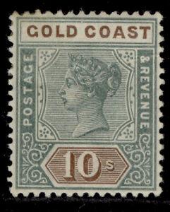GOLD COAST QV SG34, 10s green & brown, M MINT. Cat £225.