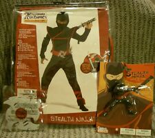 NEW Black Stealth Ninja Costume Child Medium 8 - 10 California 00228 BONUS toy