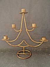 Ancien chandelier en métal doré, 5 branches forme sapin, Old French candlestick