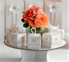 10 Scatola bianca portaconfetti fleur 50 anni per bomboniera made in italy