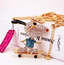Enamel Europe and America jewelry pendant Skateboarding dog rhinestone necklace