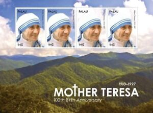 Palau- Mother Teresa 100th Birthday Anniversary Stamp Sheet of 4 MNH