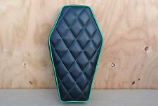 "16"" COFFIN BLACK/GREEN OLD SCHOOL STYLE MINIBIKE SEAT SCOOTER MINI BIKE KEYSTONE"