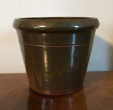 Antique 19th century American Primitive Redware Pottery Flower Pot Cachepot Vase