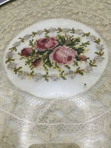 Vintage Vanity / Perfume Tray Lace and Needlework Floral Under Glass (A4-4)