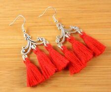 1 Statement Pair of Red Cotton Tassel Dangle Bohemian Earrings #1584