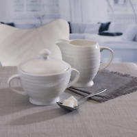 Mikasa Swirl Bone China Sugar Bowl with Cover and Creamer Set