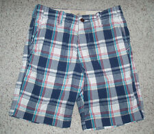 Mens HOLLISTER Plaid Bermuda Board Button Fly Shorts~White/Gray/RedTeal/Blue~30