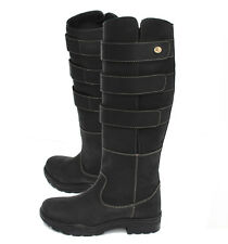 SALE Rhinegold Colorado Adjustable Long Leather Equestrian Stable Boots BLK UK6