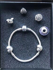 Genuine Pandora Charm Bracelet 17cms And Charms