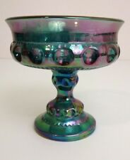 Carnival Glass Vintage Indiana Iridescent Blue Candy Dish