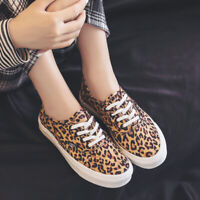 Womens Lace Up Leopards Sneakers Slip On Casual Trainers Flat Shoes Loafers Pump